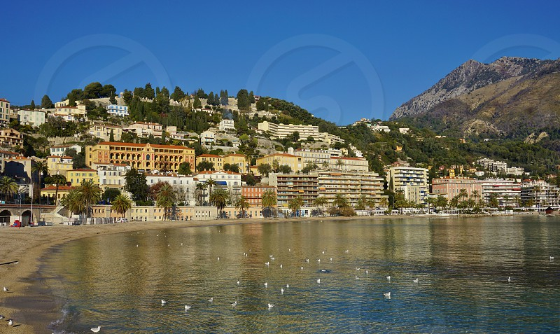 View of Menton in Alpes-Maritimes France from the Mediterranean Sea photo