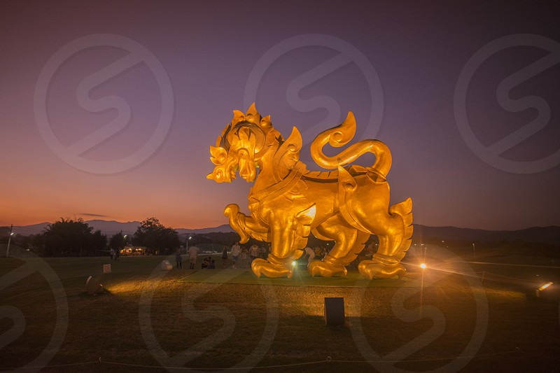 the singha at the singha Park near the city Chiang Rai in North Thailand. photo