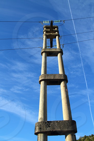 concrete electric tower pole retro vintage industrial construction in Spain photo