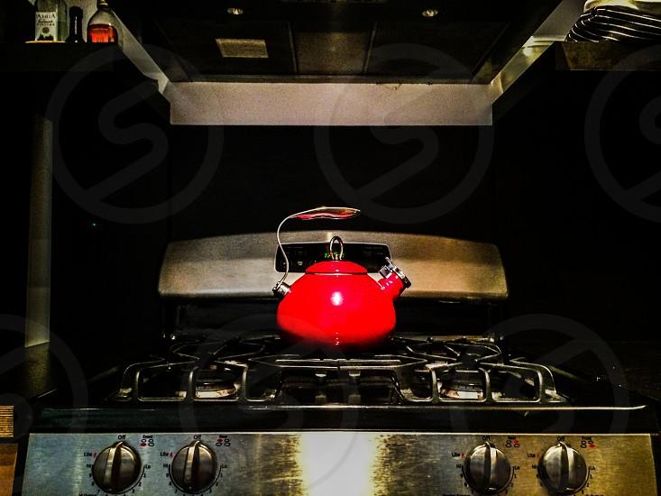 Kitchen stove tea pot kettle gas range photo