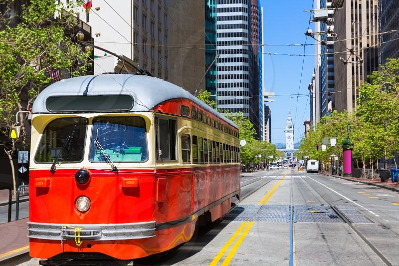 San Francisco Cable car Tram in Market Street downtown California USA photo