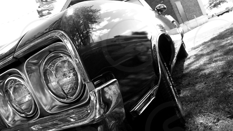 grayscale photo of car photo