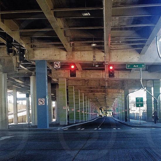 Road underpass stoplight pillars Seattle First Ave photo
