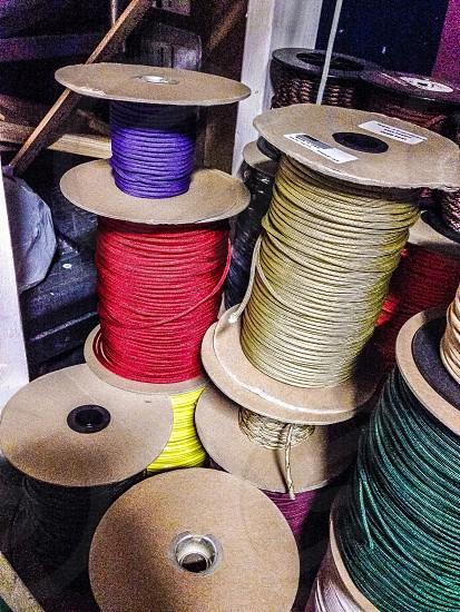 brown plastic cords photo