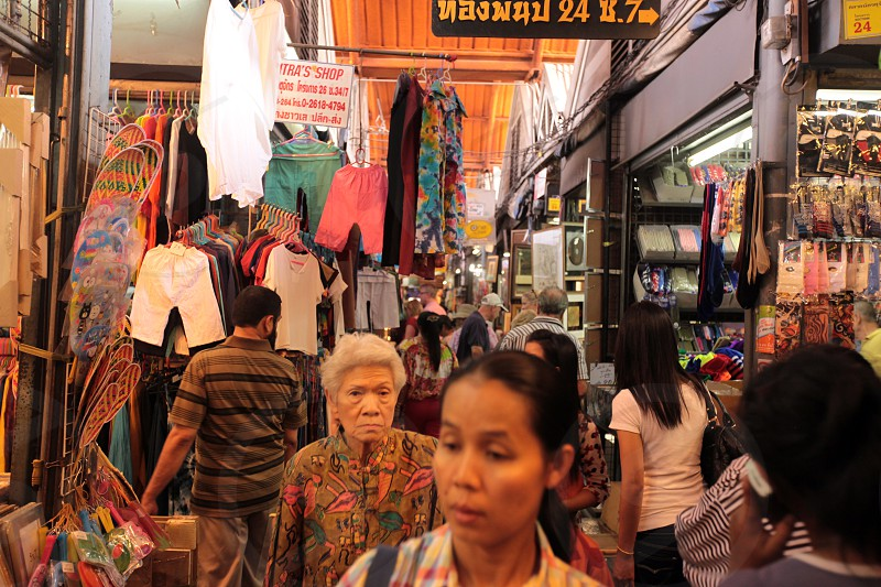 a textil shop at the Chatuchak weekend market in the city of Bangkok in Thailand in Suedostasien. photo