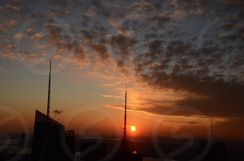sunset and cunulus cloud photography  photo