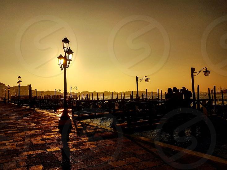 Early morningatmosphere at Piazza San Marco Venezia Italy photo