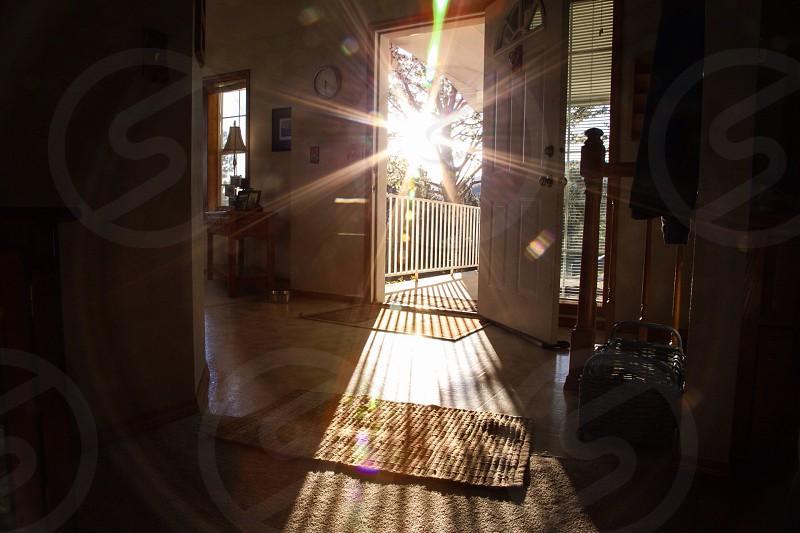 opened white wooden door photo