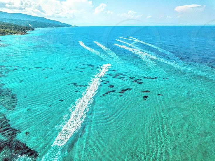 air drone view fly seajet portokali beach fun lagoon photo