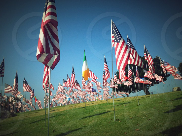911 Flag Tribute on the lawn of  Pepperdine University.  Malibu CA USA photo