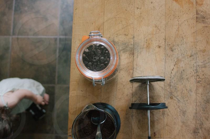 coffee // french press // coffee beans // woodgrain photo