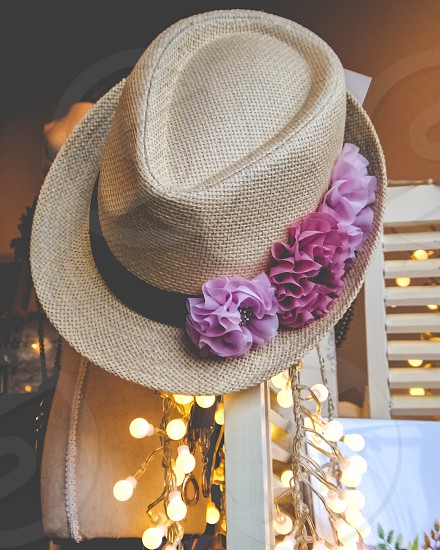 panama hat with pink flowers photo