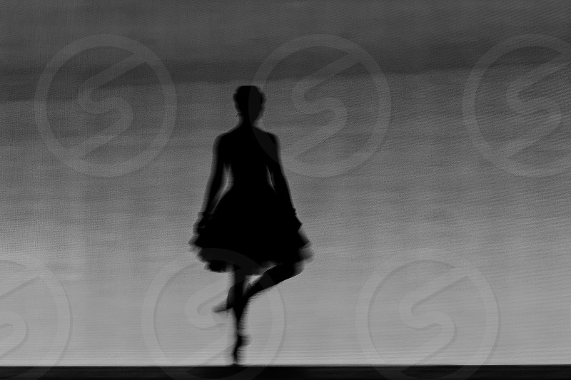 Silhouette dance black and white bnw people dancer girl dark art performance stage photo