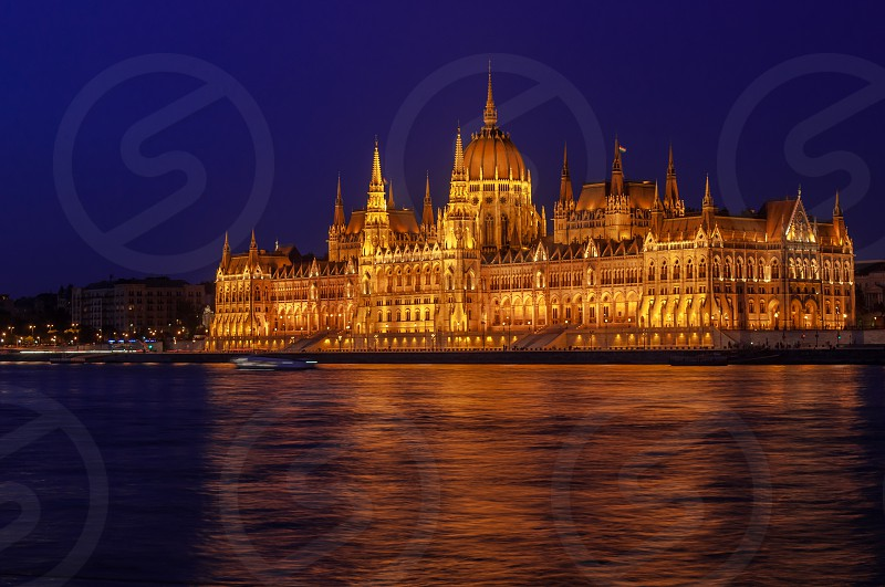 Europe Budapest Danube parliment building blue gold city travel photo