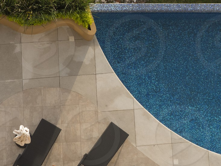 Shapes and textures of a pool area in Puerto Vallarta Mexico photo