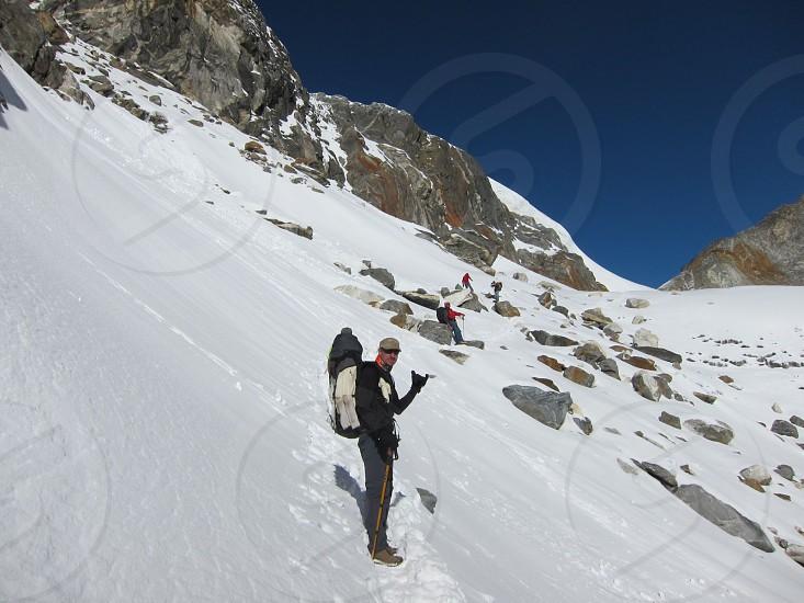 trecking mountain nepal hike snow photo