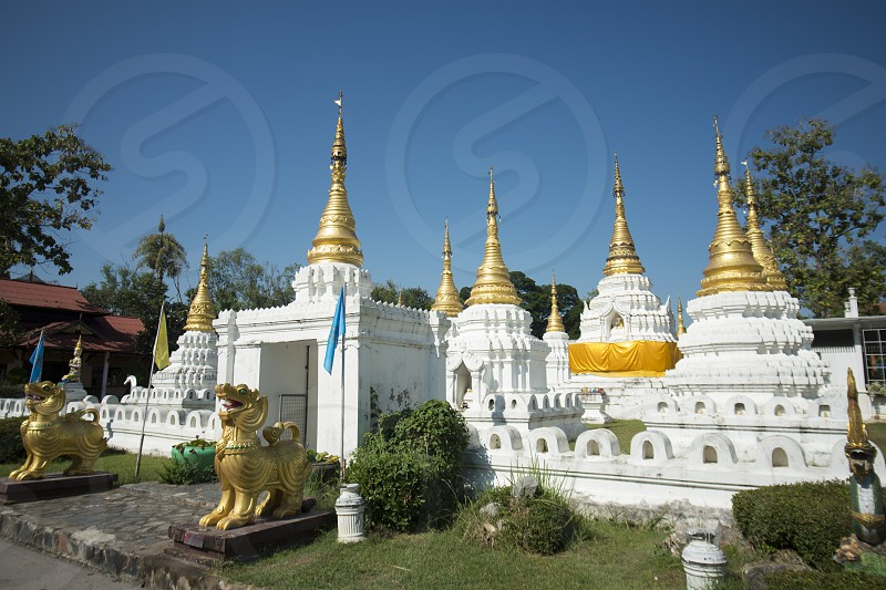 the wat chedi sao lang near of the city of Lampang in North Thailand. photo