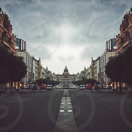The streets of Prague before a storm. photo
