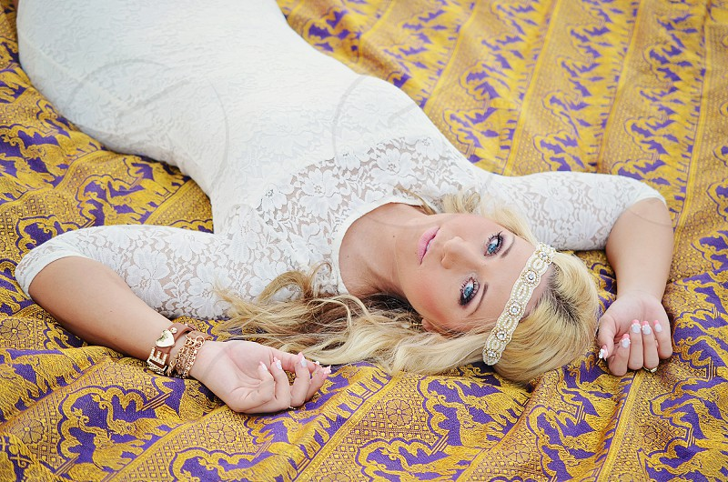 womens white lace longsleeve dress photo