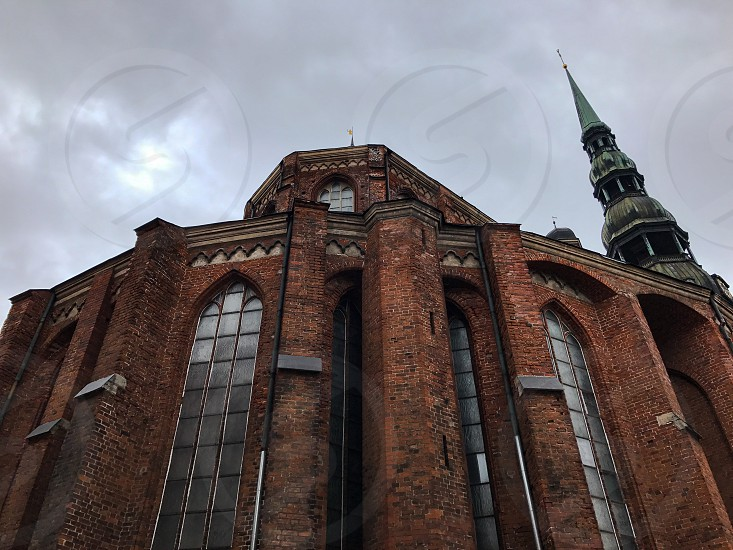 Outdoor day colour landscape horizontal Riga Latvia Europe European travel tourism tourist buildings architecture culture traditional spring church Christian Christianity holy redbrick brick photo