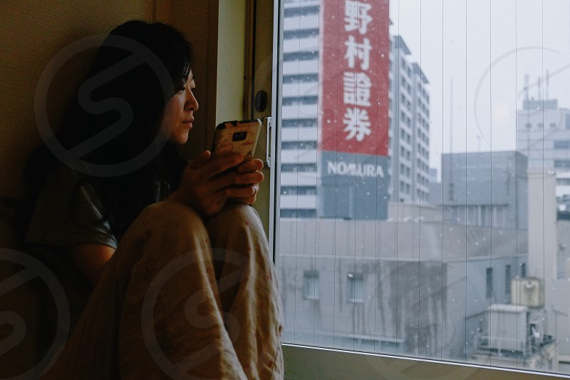 Looking through the window over Tokyo photo