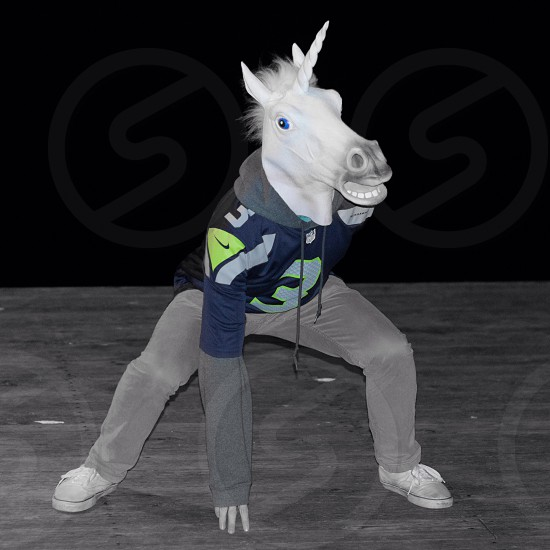 white unicorn head mask photo