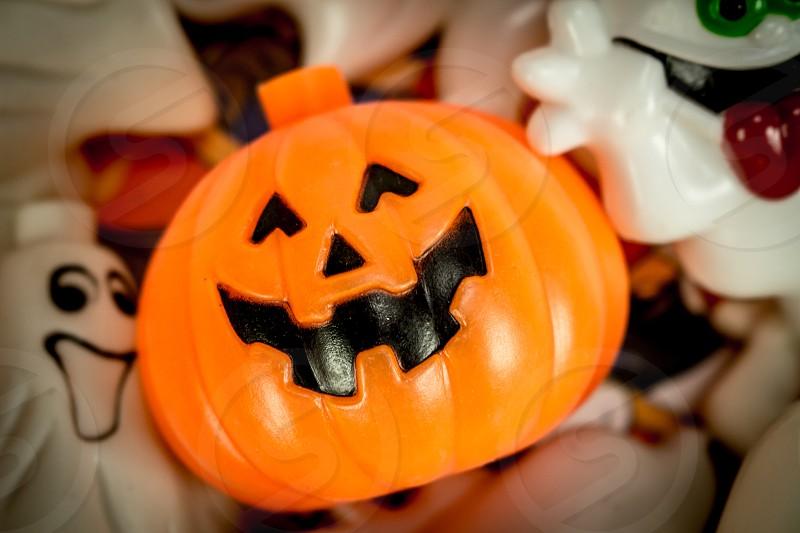 Pumpkin JOL jack o lantern Halloween ghost smile decoration light vintage fall photo