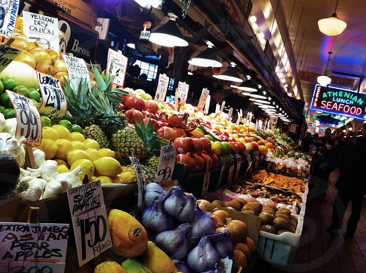 Fresh produce at Pike Place Market in Seattle Washington  photo