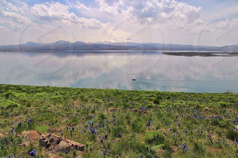 Boat lake nature sky clouds  photo