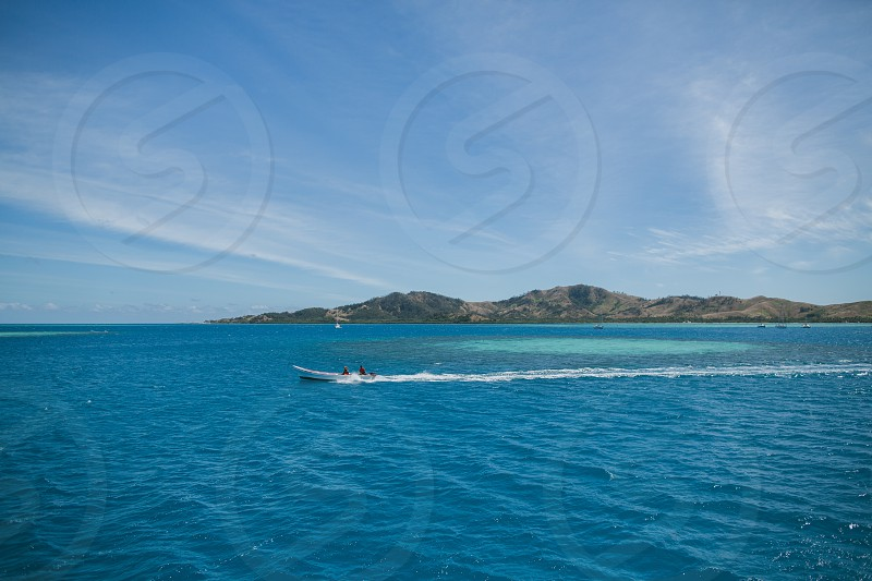 malolo island of the mamanuca islands group in fiji palmtree boat marina  photo