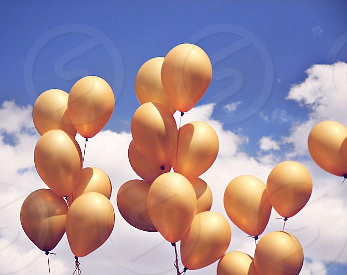 color yellow blue sky ballons photo