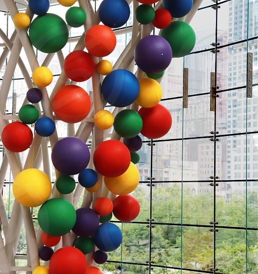 coloful balloons pride colors Brookfield Place NYC pride celebration colorful celebration photo
