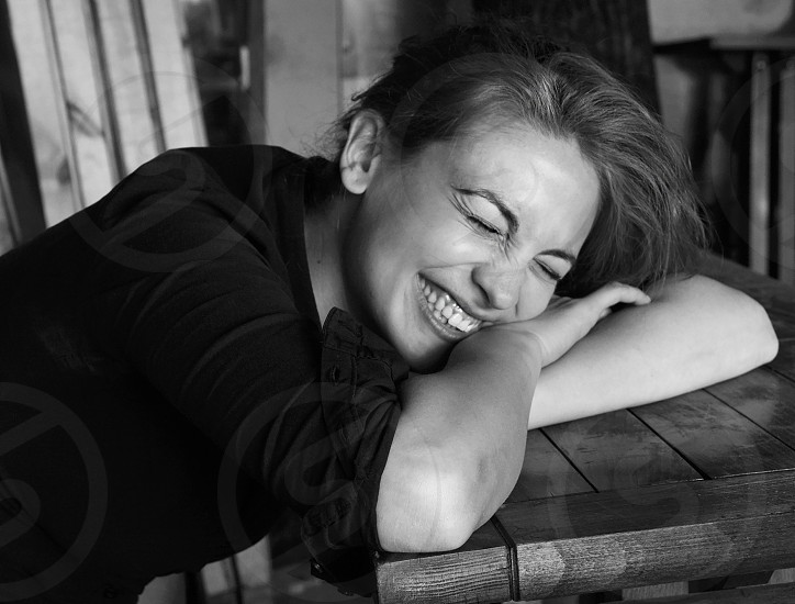 A woman laughing photo