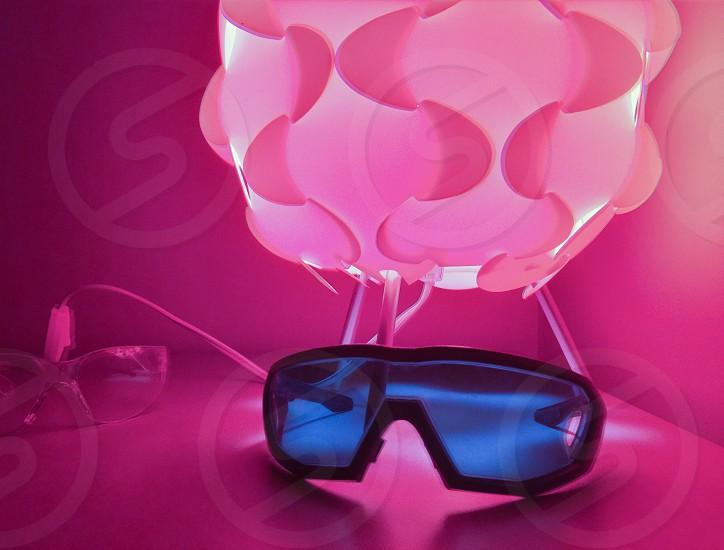 sunglasses ultraviolet ultra violet purple illuminated illumination  photo