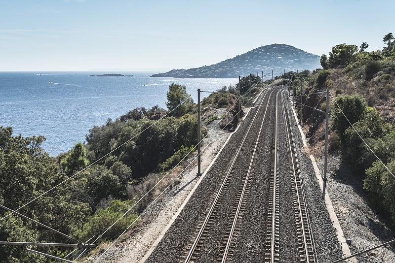 Railway line along the beach. French riviera photo