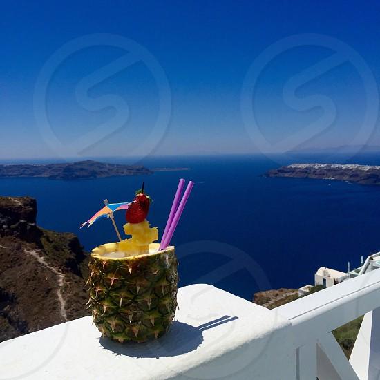 pina colada; Santorini Greece photo