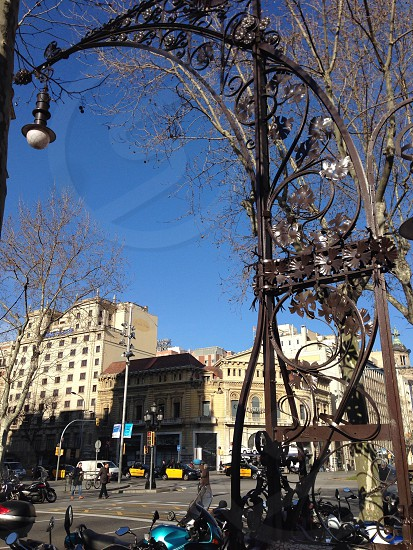 Barcelona street lamp pole photo