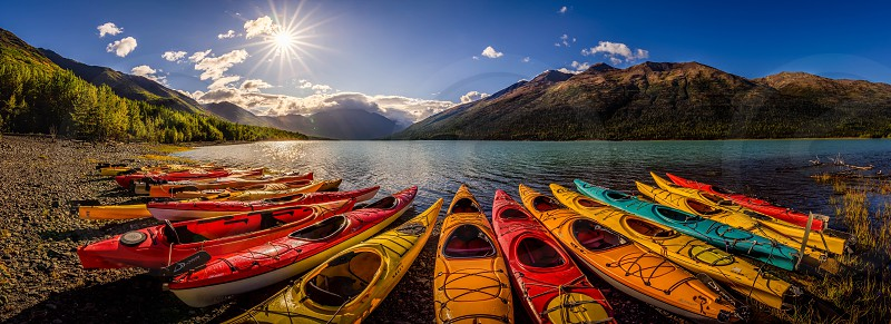 Alaska eklutna lake kayak mountains glacial Anchorage photo
