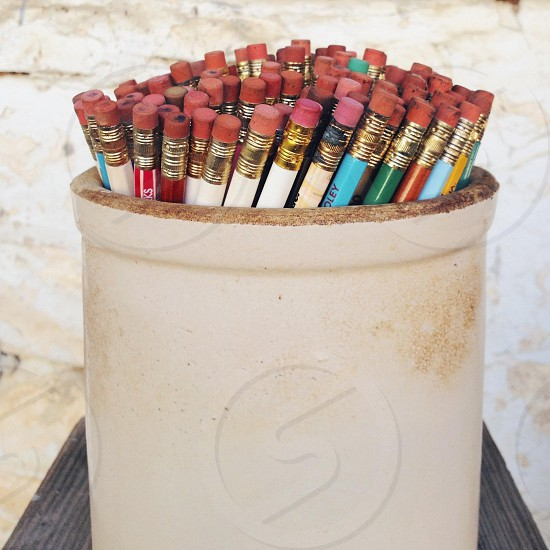 Pencil eraser pink collection education writing ceramic crock vintage antique photo
