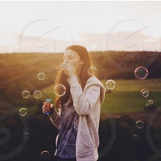 Summer landscape meadow bubbles women sunset sunrise spring summer springtime summertime love fun cute photo