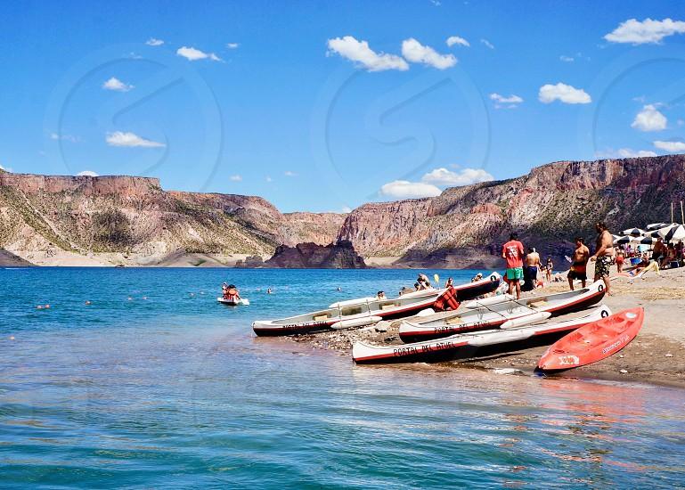Canoeing San Rafael Argentina mountains scenic ocean canoe kayak summer fun South America sky outdoors photo
