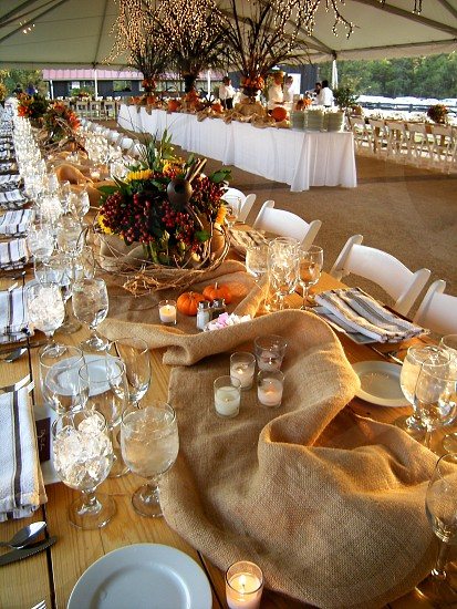 Table set for outdoor farm to table dinner photo