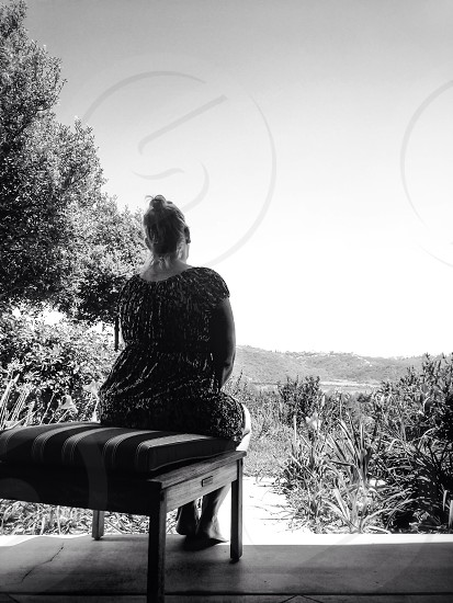 woman sitting on chair photo