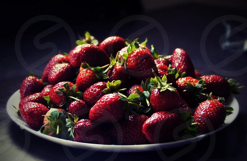 Strawberries plate. photo