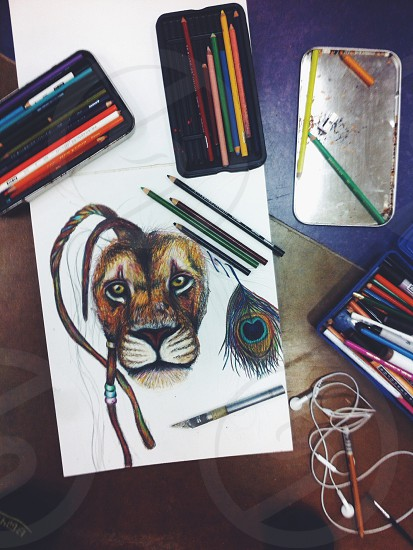 brown lion sketch on table photo