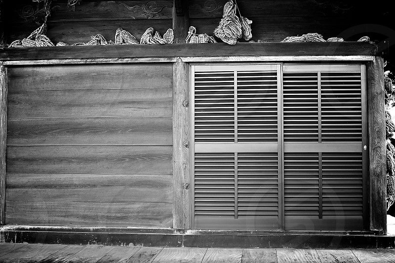 Doors (1)  Japanese Temple's Door Black and White Outdoor Grey Wooden Modern and Tradition photo