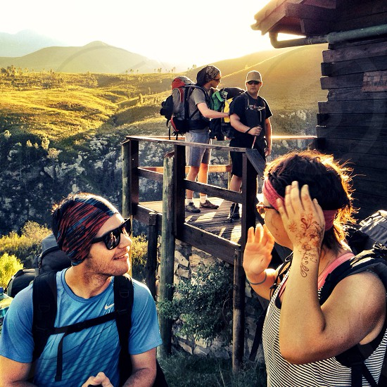 Hiking with friends. photo
