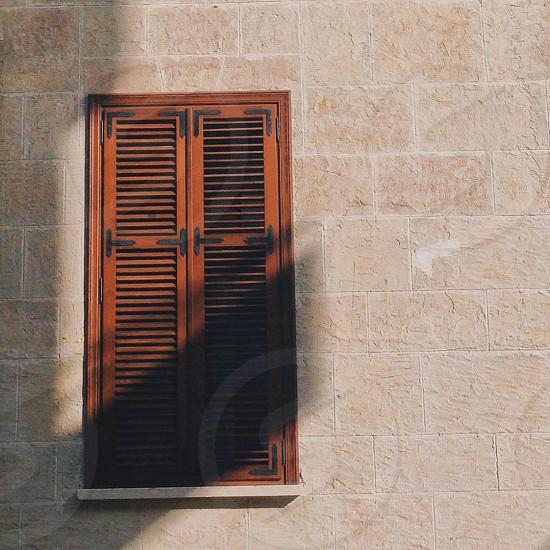 brown wooden window doors photo