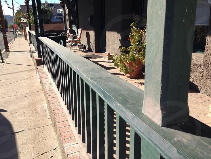 green wood porch railing  photo