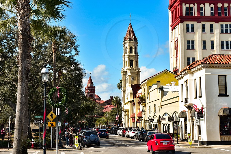 St. Augustine Florida. January 26  2019. Cathedral Basilica of St. Augustine  Plaza de la Constitucion and partial view of Henry Flager College at Old Town in Florida's Historic Coast. photo